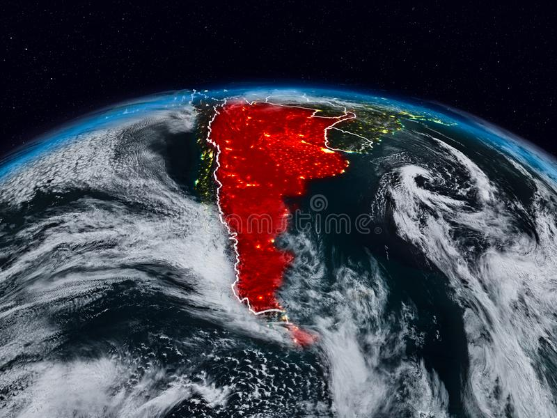 Argentina at night. Argentina from space at night on Earth with visible country borders. 3D illustration. Elements of this image furnished by NASA stock illustration