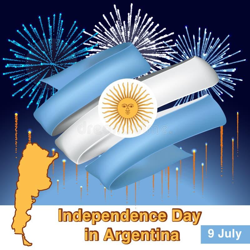 Argentina tappningkort - affischvektorillustrationen, den Argentina flaggan färgar vektor illustrationer
