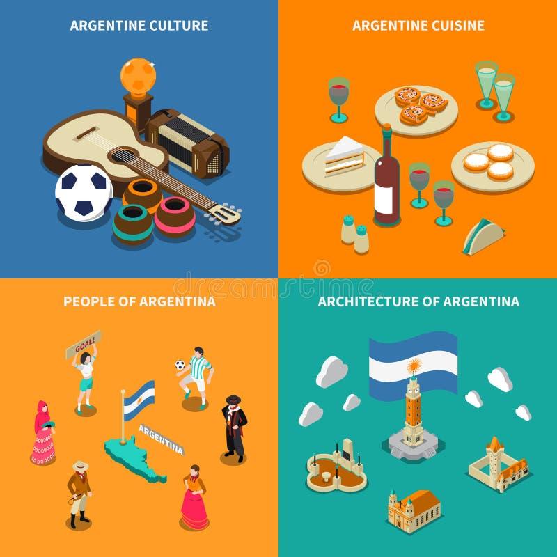 Argentina 4 Touristic isometrisk symbolsfyrkant royaltyfri illustrationer
