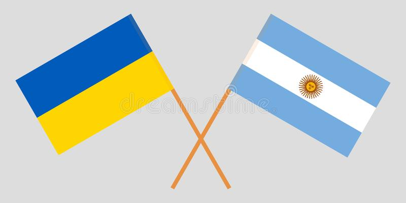 Argentina and Ukraine. The Argentinean and Ukrainian flags. Official colors. Correct proportion. Vector. Illustration stock illustration