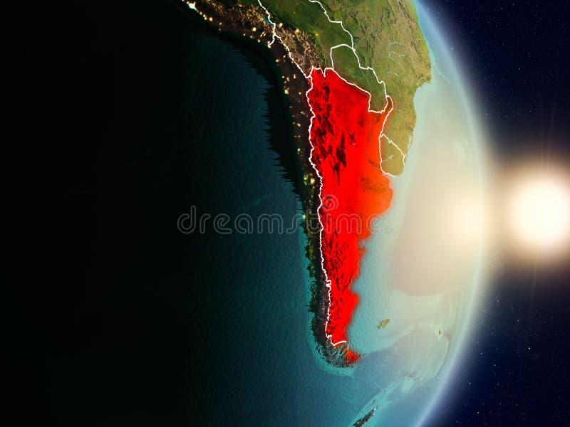 Argentina under soluppgång stock illustrationer