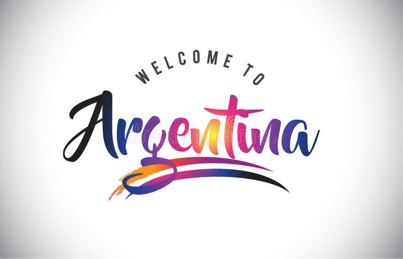 Argentina välkomnande till meddelandet i purpurfärgade vibrerande moderna färger vektor illustrationer