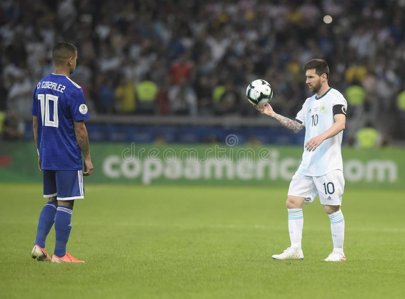 Copa America. Argentina v Paraguay, Copa America Group B football match, Belo Horizonte, Brazil - 19 Jun 2019. Lionel Messi royalty free stock images
