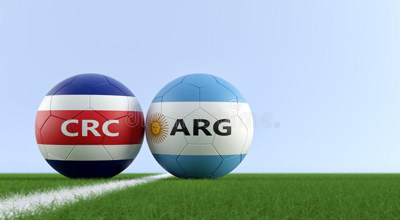 Argentina vs. Costa Rica Soccer Match - Soccer balls in Costa Rica and Argentina national colors on a soccer field. Copy space on the right side - 3D Rendering stock illustration