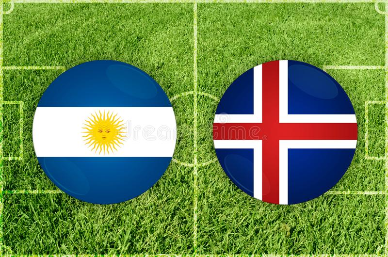 Argentina vs den Island fotbollsmatchen stock illustrationer