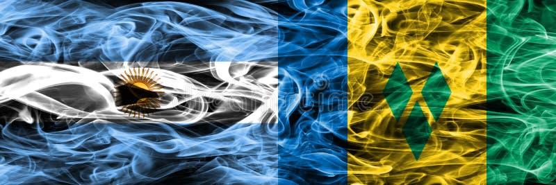 Argentina vs förlade Saint Vincent och Grenadinerna rökflaggor royaltyfri illustrationer