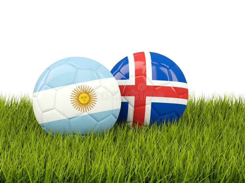 Argentina vs Island bollcloseupbegreppet shoes fotbollsporten Fotbollar med flaggor på gr royaltyfri illustrationer