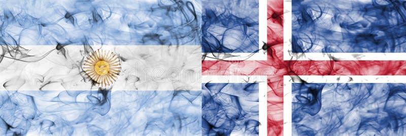 Argentina vs Island rökflagga stock illustrationer