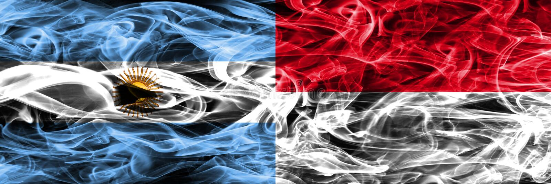 Argentina vs Monaco rök sjunker den förlade sidan - förbi - sidan Tjock färg vektor illustrationer