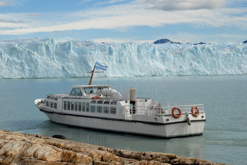 Argentine excursion ship near the Perito Moreno Gl stock image