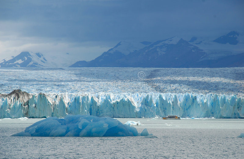 Argentine excursion ship near the Upsala glacier stock photo