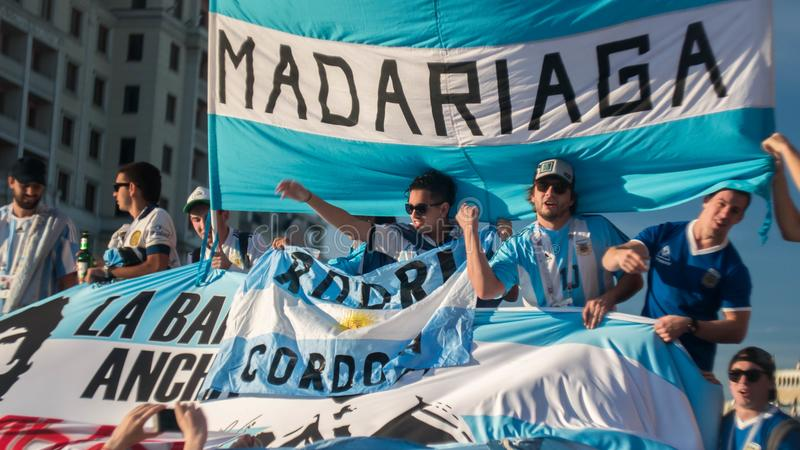 MOSCOW, RUSSIA - June 15, 2018: Argentine fans sing songs on the red square in Moscow stock photography