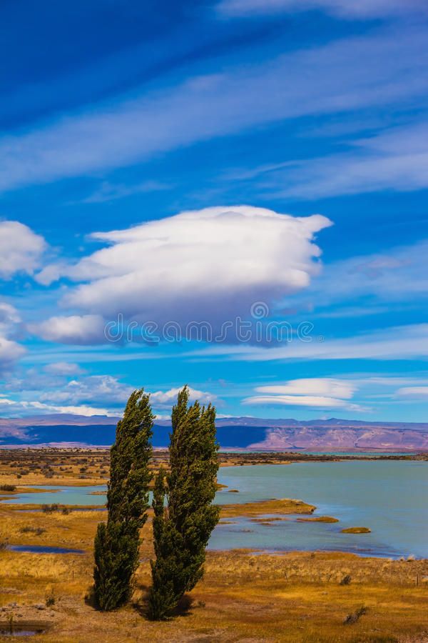 Argentine Patagonia on windy summer day stock image