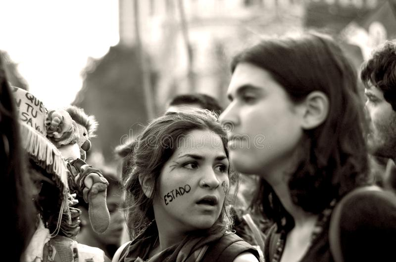 The Argentine state is responsible. Manifestation of people because the forced disappearance of Santiago Maldonado. Who was found dead after several months
