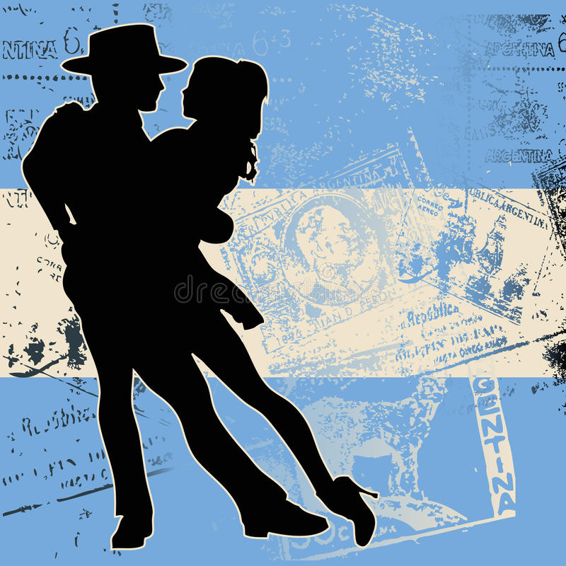 Argentine Tango. Background illustration of a couple dancing the tango over an Argentinian flag with grunge postal markings