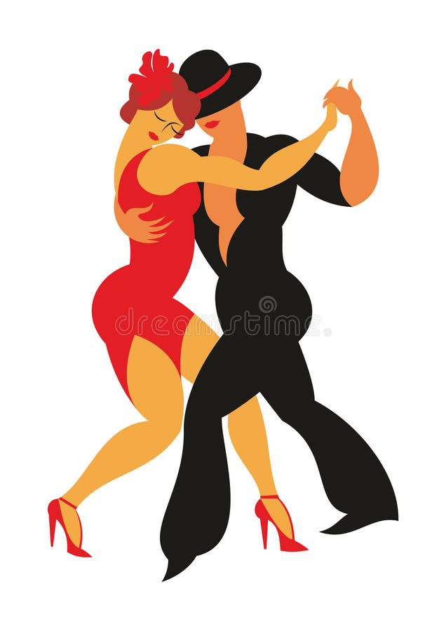 The Argentine tango. Lady in a red dress and the gentleman in a hat dance the Argentina tango vector illustration