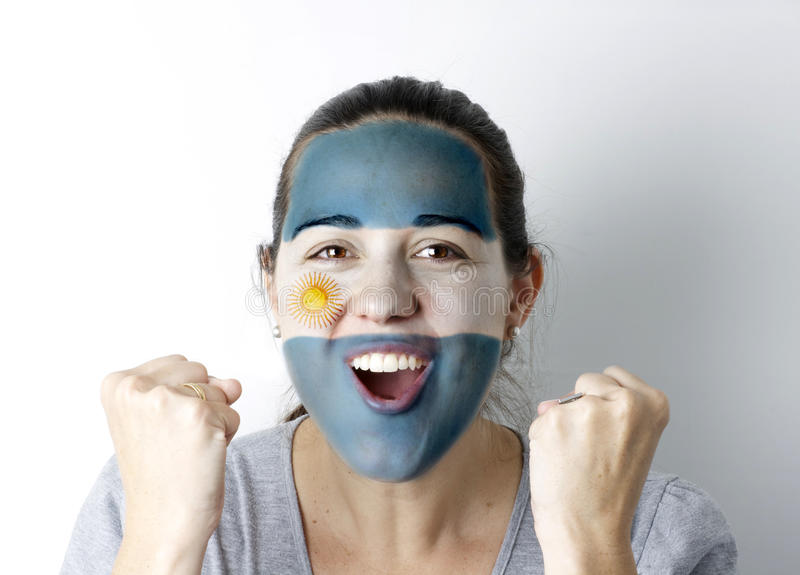Argentinean fan screaming GOAL royalty free stock photos