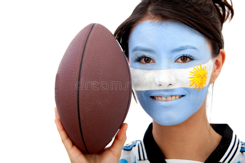 Download Argentinean rugby fan stock image. Image of person, woman - 15653141