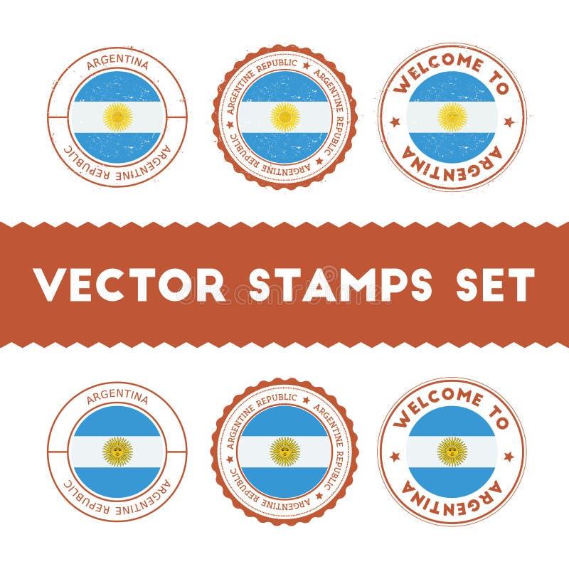 Argentinean uppsättning för rubber stämplar för flagga vektor illustrationer
