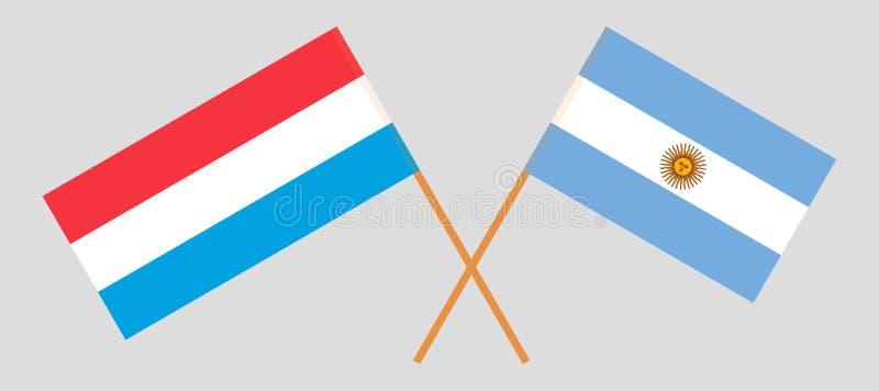 Argentinië en Luxemburg De Argentijnse en Luxemburgse vlaggen Officiële kleuren Correct aandeel Vector royalty-vrije illustratie