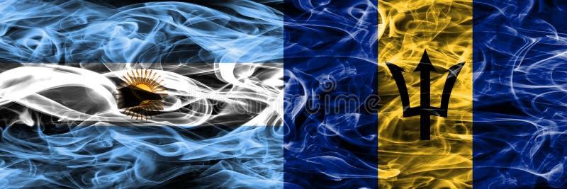 Argentinië versus Barbados rookt zij aan zij geplaatste vlaggen Dik col. stock illustratie