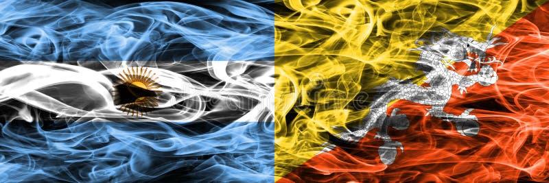 Argentinië versus Bhutan zij aan zij geplaatste rookvlaggen Dikke kleur vector illustratie