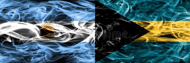 Argentinië versus de Bahamas rookt zij aan zij geplaatste vlaggen Dikke colo vector illustratie