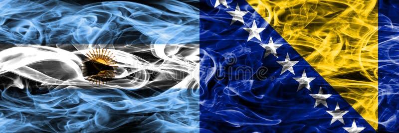 Argentinië versus de rookvlaggen geplaatste kant van Bosnië-Herzegovina door s royalty-vrije illustratie
