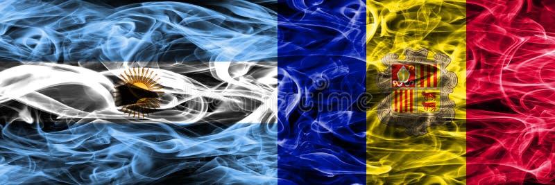 Argentinië versus zij aan zij geplaatste de rookvlaggen van Andorra Dikke colo royalty-vrije illustratie