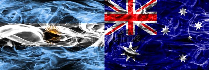 Argentinië versus zij aan zij geplaatste de rookvlaggen van Australië Dikke mede stock illustratie