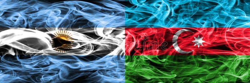 Argentinië versus zij aan zij geplaatste de rookvlaggen van Azerbeidzjan Dik c vector illustratie