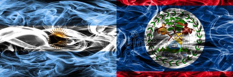 Argentinië versus zij aan zij geplaatste de rookvlaggen van Belize Dikke kleur vector illustratie