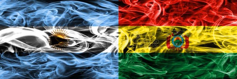 Argentinië versus zij aan zij geplaatste de rookvlaggen van Bolivië Dikke colo stock illustratie