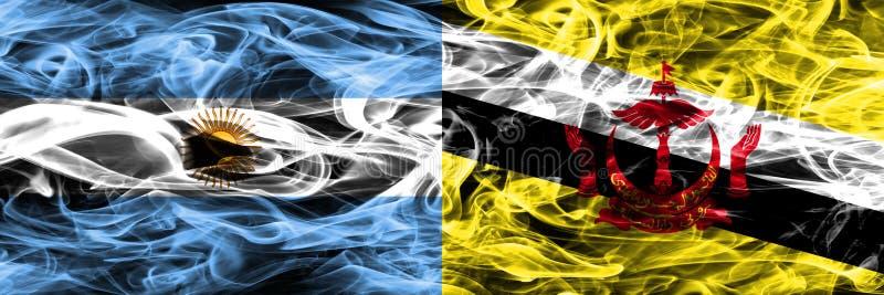 Argentinië versus zij aan zij geplaatste de rookvlaggen van Brunei Dikke kleur vector illustratie