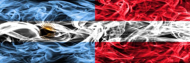 Argentinië versus zij aan zij geplaatste de rookvlaggen van Oostenrijk Dikke colo stock illustratie
