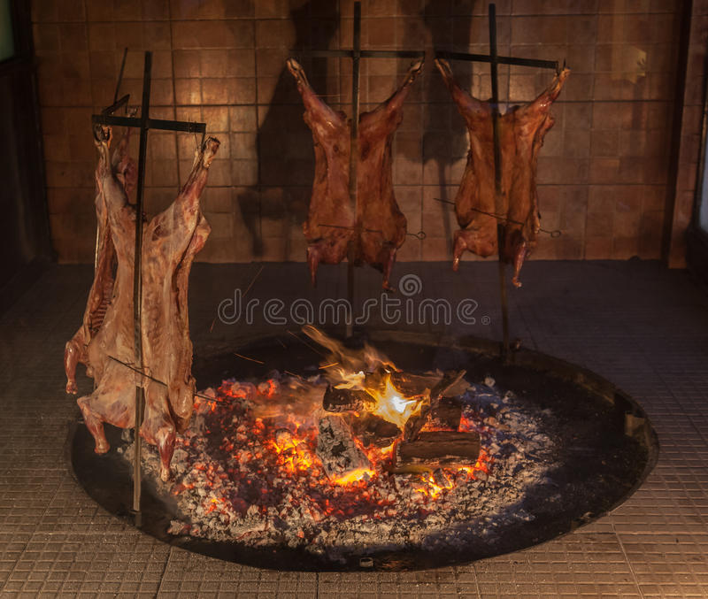 Argentinian Barbecue. A typical argentinian barbecue of sheep royalty free stock photos