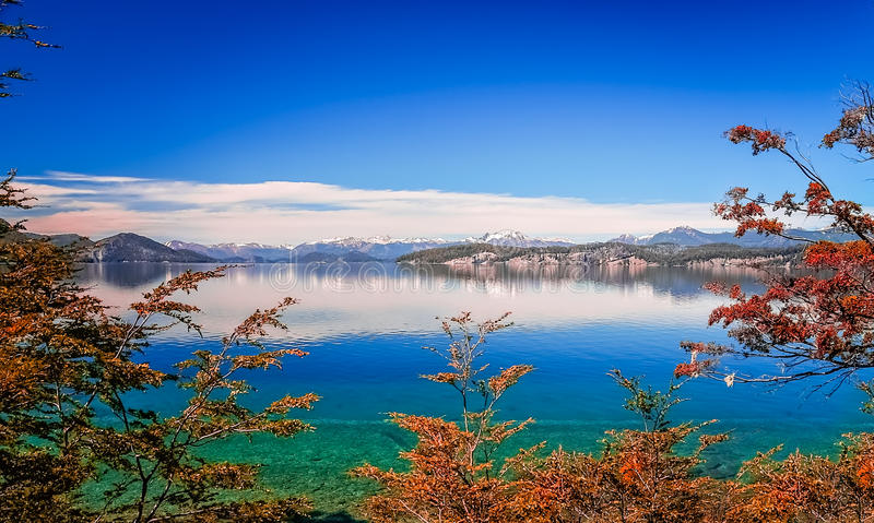 Argentinian blue lakes. Beautiful lakes in argentinian Lake District near Bariloche, Argentina stock photos