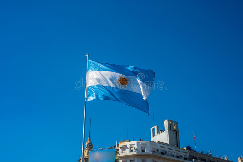 Argentinian flag in Buenos Aires, Argentina. stock image