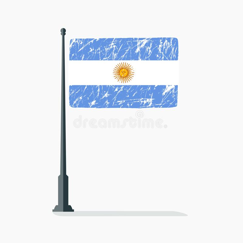 Argentinian flag with scratches, vector flag of Argentina on flagpole with shadow. royalty free illustration