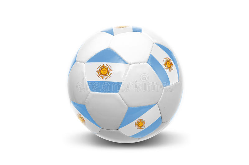 Argentinian flag soccer ball. Soccer ball with Argentinian flag in white stock photo