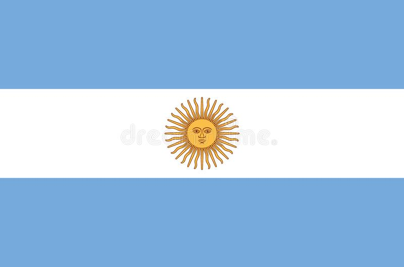 Argentinian national flag in accurate colors, official flag of argentina in exact colors. Real colors vector illustration