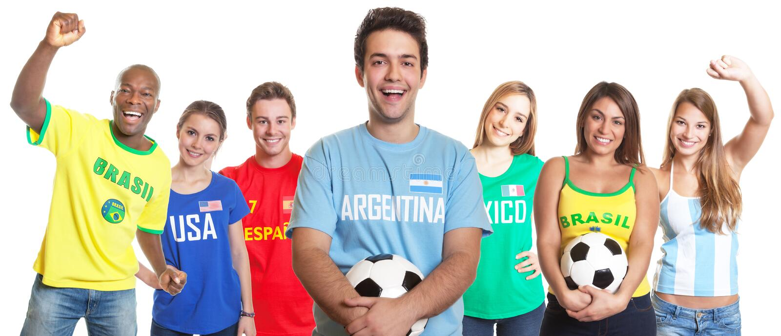 Argentinian soccer fan with ball and other fans. From Brazil, USA, Spain, Mexico on an isolated white background for cutout stock image