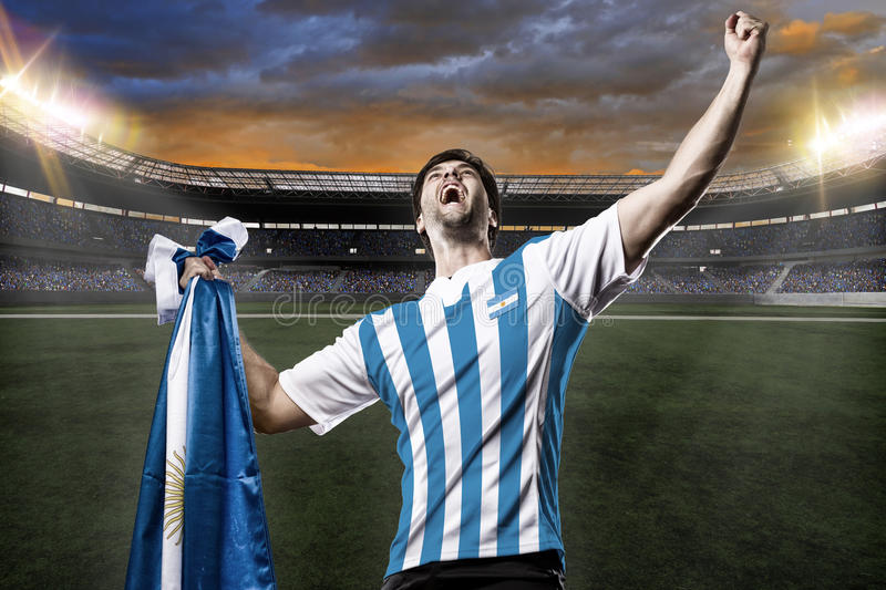 Argentinian soccer player. Celebrating with the fans royalty free stock images