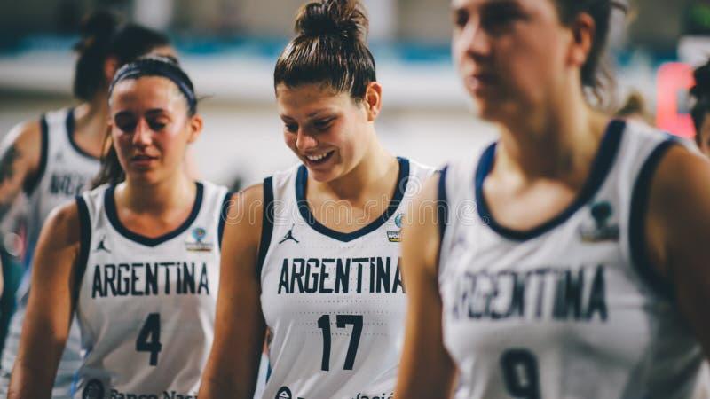 Argentinien-Basketball-Spieler am Ende des Basketballspiels ARGENTINIEN gegen AUSTRALIEN lizenzfreies stockfoto