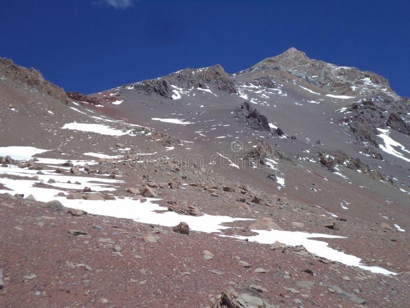 Argentinien - berühmte Spitzen - wandernd in Cantral Anden - Spitzen um uns - La Ramada lizenzfreie stockbilder