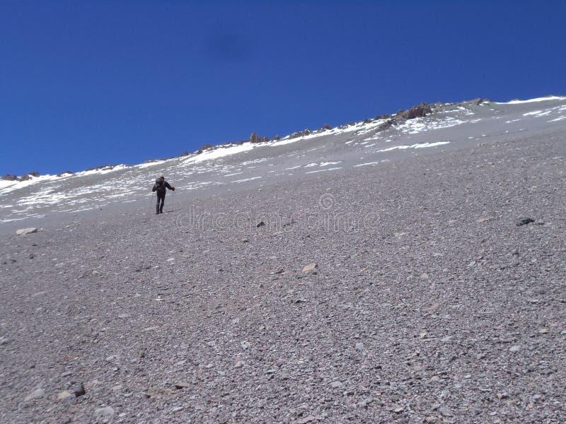Argentinien - berühmte Spitzen - wandernd in Cantral Anden - Spitzen um uns - zum La Ramada-Gipfel stockfotos