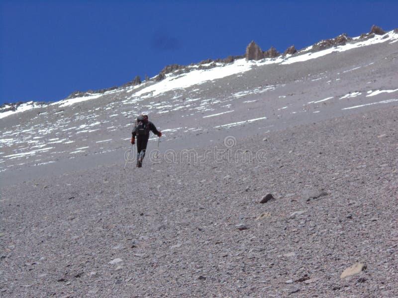 Argentinien - berühmte Spitzen - wandernd in Cantral Anden - Spitzen um uns - zum La Ramada-Gipfel lizenzfreies stockfoto