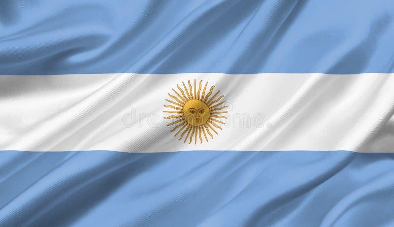 Argentinien fahnenschwenkend mit dem Wind, Illustration 3D stock abbildung