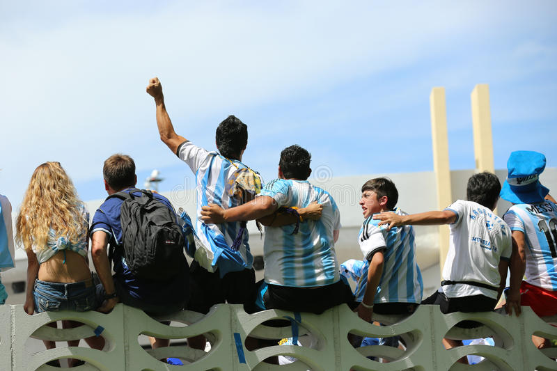 Argentinien-Fans auf Miami Beach stockfotos