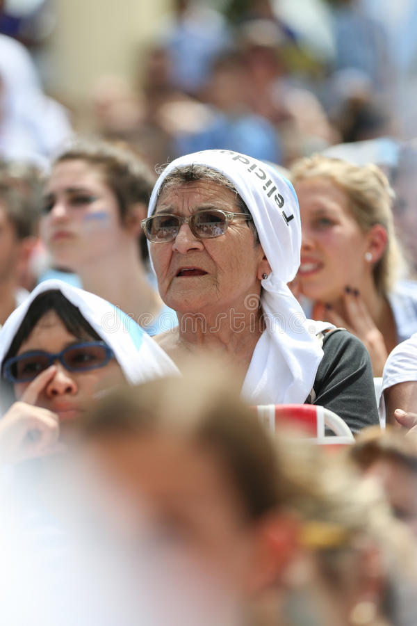 Argentinien-Fans auf Miami Beach lizenzfreie stockfotos